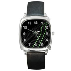 Green Lines Black Anime Arrival Night Light Square Metal Watch by Mariart