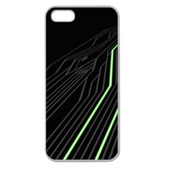 Green Lines Black Anime Arrival Night Light Apple Seamless Iphone 5 Case (clear) by Mariart