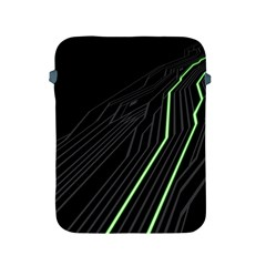 Green Lines Black Anime Arrival Night Light Apple Ipad 2/3/4 Protective Soft Cases by Mariart