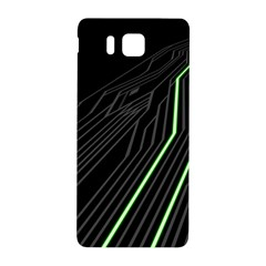 Green Lines Black Anime Arrival Night Light Samsung Galaxy Alpha Hardshell Back Case by Mariart