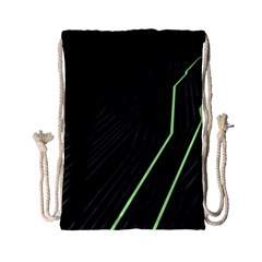 Green Lines Black Anime Arrival Night Light Drawstring Bag (small) by Mariart