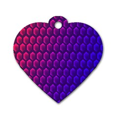 Hexagon Widescreen Purple Pink Dog Tag Heart (two Sides) by Mariart