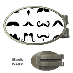 Mustache Man Black Hair Style Money Clips (oval)  by Mariart