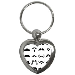 Mustache Man Black Hair Style Key Chains (heart)  by Mariart