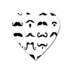 Mustache Man Black Hair Style Heart Magnet by Mariart