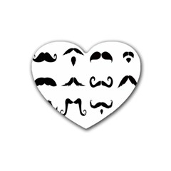 Mustache Man Black Hair Style Heart Coaster (4 Pack)  by Mariart