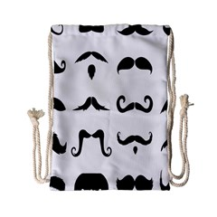 Mustache Man Black Hair Style Drawstring Bag (small) by Mariart