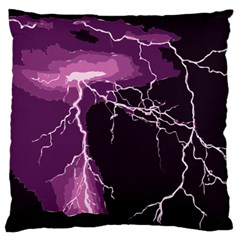 Lightning Pink Sky Rain Purple Light Large Cushion Case (two Sides) by Mariart