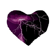 Lightning Pink Sky Rain Purple Light Standard 16  Premium Flano Heart Shape Cushions by Mariart