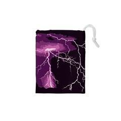 Lightning Pink Sky Rain Purple Light Drawstring Pouches (xs)  by Mariart