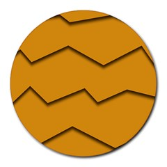 Orange Shades Wave Chevron Line Round Mousepads by Mariart