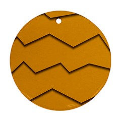 Orange Shades Wave Chevron Line Ornament (round) by Mariart