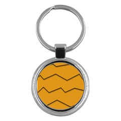 Orange Shades Wave Chevron Line Key Chains (round)  by Mariart