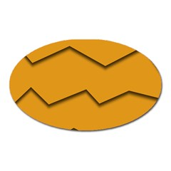 Orange Shades Wave Chevron Line Oval Magnet by Mariart