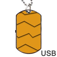 Orange Shades Wave Chevron Line Dog Tag Usb Flash (one Side) by Mariart