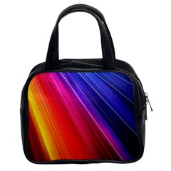 Multicolor Light Beam Line Rainbow Red Blue Orange Gold Purple Pink Classic Handbags (2 Sides) by Mariart