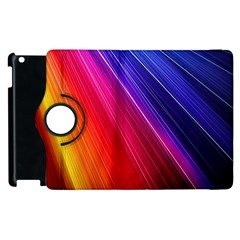 Multicolor Light Beam Line Rainbow Red Blue Orange Gold Purple Pink Apple Ipad 2 Flip 360 Case by Mariart
