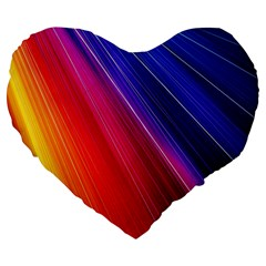 Multicolor Light Beam Line Rainbow Red Blue Orange Gold Purple Pink Large 19  Premium Heart Shape Cushions by Mariart
