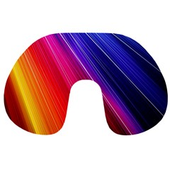 Multicolor Light Beam Line Rainbow Red Blue Orange Gold Purple Pink Travel Neck Pillows by Mariart