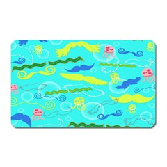Mustache Jellyfish Blue Water Sea Beack Swim Blue Magnet (rectangular) by Mariart