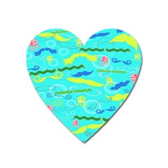 Mustache Jellyfish Blue Water Sea Beack Swim Blue Heart Magnet by Mariart