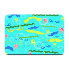 Mustache Jellyfish Blue Water Sea Beack Swim Blue Plate Mats by Mariart