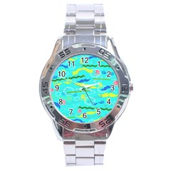 Mustache Jellyfish Blue Water Sea Beack Swim Blue Stainless Steel Analogue Watch by Mariart