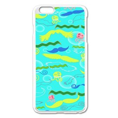 Mustache Jellyfish Blue Water Sea Beack Swim Blue Apple Iphone 6 Plus/6s Plus Enamel White Case by Mariart