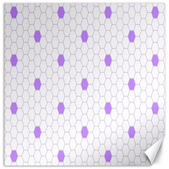 Purple White Hexagon Dots Canvas 16  X 16   by Mariart