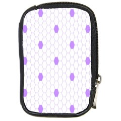 Purple White Hexagon Dots Compact Camera Cases by Mariart