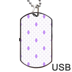 Purple White Hexagon Dots Dog Tag Usb Flash (two Sides) by Mariart