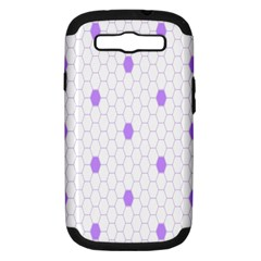 Purple White Hexagon Dots Samsung Galaxy S Iii Hardshell Case (pc+silicone) by Mariart