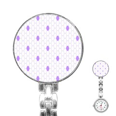 Purple White Hexagon Dots Stainless Steel Nurses Watch by Mariart