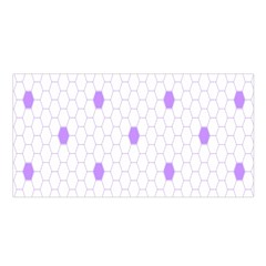 Purple White Hexagon Dots Satin Shawl by Mariart