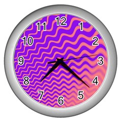 Original Resolution Wave Waves Chevron Pink Purple Wall Clocks (silver)  by Mariart