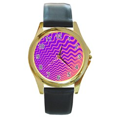 Original Resolution Wave Waves Chevron Pink Purple Round Gold Metal Watch by Mariart