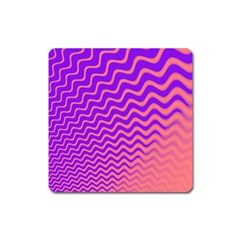 Original Resolution Wave Waves Chevron Pink Purple Square Magnet by Mariart
