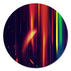 Perfection Graphic Colorful Lines Magnet 5  (round) by Mariart