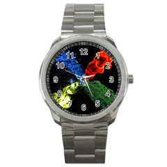 Perfect Amoled Screens Fire Water Leaf Sun Sport Metal Watch by Mariart