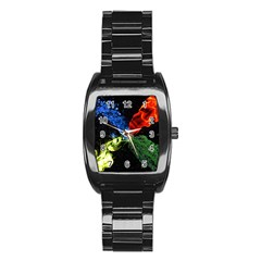 Perfect Amoled Screens Fire Water Leaf Sun Stainless Steel Barrel Watch by Mariart