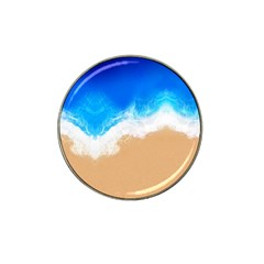 Sand Beach Water Sea Blue Brown Waves Wave Hat Clip Ball Marker (4 Pack) by Mariart
