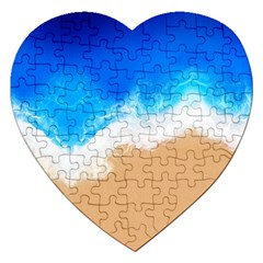 Sand Beach Water Sea Blue Brown Waves Wave Jigsaw Puzzle (heart) by Mariart