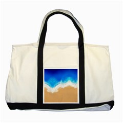 Sand Beach Water Sea Blue Brown Waves Wave Two Tone Tote Bag by Mariart