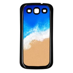 Sand Beach Water Sea Blue Brown Waves Wave Samsung Galaxy S3 Back Case (black) by Mariart