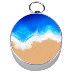 Sand Beach Water Sea Blue Brown Waves Wave Silver Compasses by Mariart