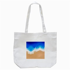 Sand Beach Water Sea Blue Brown Waves Wave Tote Bag (white) by Mariart