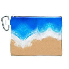 Sand Beach Water Sea Blue Brown Waves Wave Canvas Cosmetic Bag (xl) by Mariart