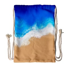 Sand Beach Water Sea Blue Brown Waves Wave Drawstring Bag (large) by Mariart
