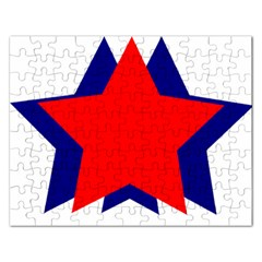 Stars Red Blue Rectangular Jigsaw Puzzl by Mariart