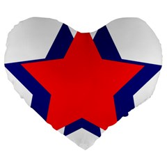 Stars Red Blue Large 19  Premium Heart Shape Cushions by Mariart